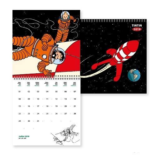 Moulinsart Calendrier Mural 2019 Tintin Aventure sur la Lune 30x30cm (24398) par