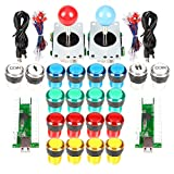 EG STARTS 2 Player Classic Arcade DIY Kit USB Encoder to PC 2x 5 Pin Joystick Games + 16x 30mm 5V LED Botón iluminado 1 + 2 jugadores Botones de monedas para Raspberry Pi 1 2 3 3B Mame Fighting Stick