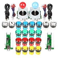 2 Player Arcade Stick DIY Kit USB Encoder to PC Joystick Games + 2x 5Pin Rocker + 16x 30mm 5V LED Lit Push Button 1 + 2 Players Coin Buttons For Raspberry Pi 1 2 3 3B Mame Fighting Stick