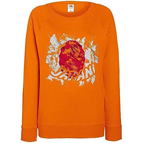 Bandiere Firmata Collezione 2, Fruit of the Loom Felpa Raglan Leggera da Donna Arancio Womens Sweatshirt con Design Colorato. Taglia XS 36, S 38, M 40, L 42, XL 44, 2XL 46. - Vintage Firmata Giappone