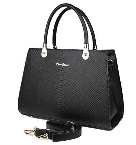 Tom & Eva Damen Tasche - Vintage Kroko Henkeltasche aus Kunstleder, Schwarz Handtasche