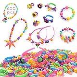 HellDoler Pop Beads,Kit de Fabricación de Joyas para Niños con Más de 400 Piezas Artes y Manualidades con Pop Beads para Hacer Collares, Pulseras, Anillos para Niños y Niñas