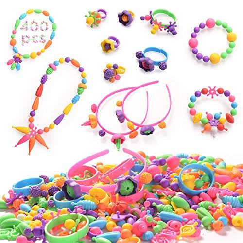 HellDoler Pop Perlen,400st DIY Kinderschmuck Kit,Pädagogisches Kunsthandwerk Spielzeug Pop Snap Perlen Set,um Halsketten,Armbänder,Ringe für Kinder Mädchen Kleinkinder zu Machen