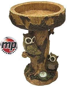 MP Essentials Solar LED Light Owl Garden Patio Birdbath Bird Bath Table Feature
