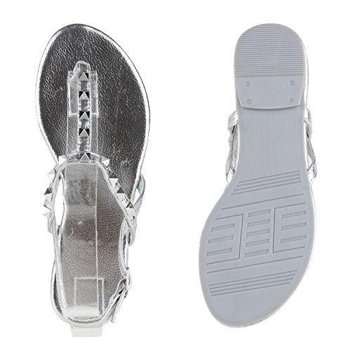 Damen Sandalen Zehentrenner Metallic Strass Flats Schuhe Silber Nieten