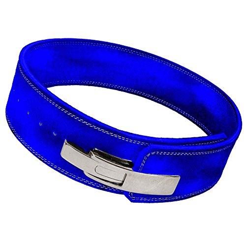 """Cintura per sollevamento pesi, in pelle, livello professionale, con chiusura a leva, attrezzatura per allenamento e sollevamento pesi in palestra, Blue, M 32\""""-36\"""""""