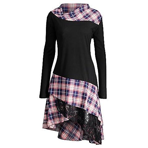 CharMma Frauen Übergröße Mock Neck Top Asymmetrisch Spitzen Bluse Langarm Kleid (4XL, Schwarz)