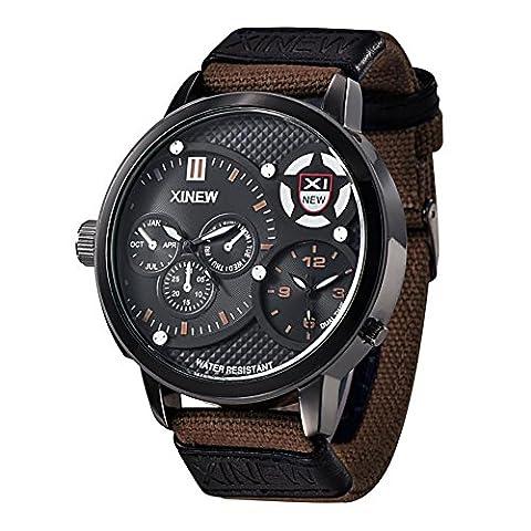 SHOUBIAO® Regarder Men'S 5.2Cm Large Cadran Gmt Les Deux Places, 24 Heures D'Instruction, Horloge Mondiale Quartz ,