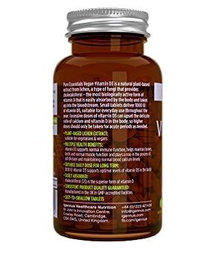 Pure Essentials Vegan Vitamin D3 1000IU Cholecalciferol, Lichen Extract, 365 Tablets