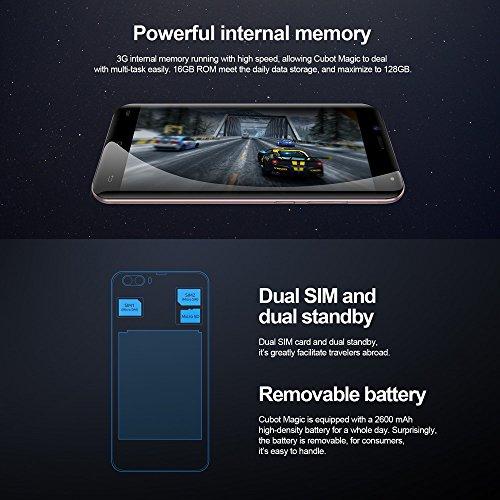 Cubot Magic 4G FDD Smartphone Android 7 0 ROM de 3 GB RAM de 16 GB 5 0 Pulgadas Pantalla HD 720   1280 P  xeles MTK6737 Quad-Core 1 3GHz 13 0MP  2 0MP