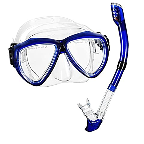 Snorkel Set, OMorc Anti-Fog Diving Mask with Ergonomic Design and Adjustable Sizes, Ultra Dry Snorkel and Food-Grade Silicone Mouthpiece for Men and Women – Blue