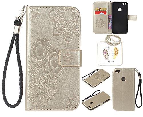 Preisvergleich Produktbild für Huawei P10 Lite PU Leder Silikon Schutzhülle Handy case Book Style Portemonnaie Design für Huawei P10 Lite + Schlüsselanhänger ( WAQ (6)