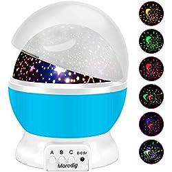 Moredig 360 Grados Rotación Proyector Lámpara Estrellas, Romántica luz de la Noche y 8 Modos, Regalo para Niños y Bebés Cumpleaños, Día de los Reyes, Navidad, Halloween etc - Rosa (Azul)
