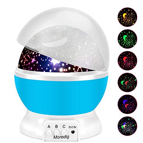ternenhimmel Projektor, Baby Licht 360° Rotation LED Sternenlicht Lampe Sternhimmelprojektor mit 8 Farbige Lichter Projektion, Perfekte Geschenk für Babys & Kinder - Blau ()