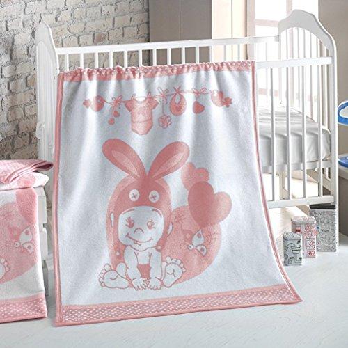 Delindo Lifestyle® Babydecke HASI SOFT-PINK / 380g/m² flauschig weiche Kuscheldecke aus 60% Baumwolle / Krabbeldecke 75x100 cm / rosa Wolldecke mit Elefant als Motiv für den Sommer