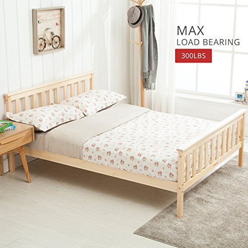 Makeonsale Bed Frame 4FT6 Double Bed Natural & Pinewood & ECO-Friendly
