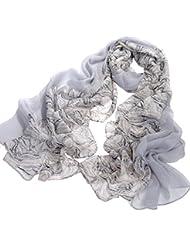 Nella-Mode Grosser exclusiver SEIDENSCHAL (ca. 200 x 80 cm) aus feiner transparenter Seide in elegantem Design: uni grau und elegantes Design kombiniert in einem Schal aus 100% Seide