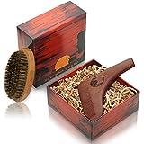 SAVANNA BEARD Kit de Aseo para Vello Facial de Alta Calidad – Herramienta de Dar Forma a la Barba de madera de sándalo rojo para la simetría de afeitar perfecta y cepillo de cerda pura 100% de cerdas suaves y un cepillo de pelo en un paquete elegante - el regalo ideal