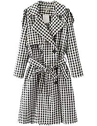 Giubotto Donna Lunga Eleganti Classiche Quadretti Maniche Lunghe Trench  Abbigliamento Casual Vintage Moda Cintura Inclusa Bavero 50b58b16bd14