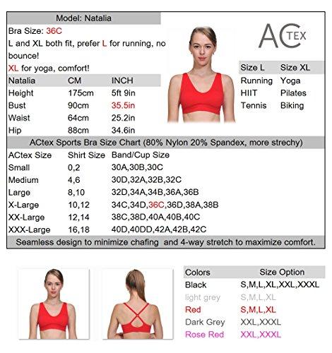 ACtex Frauen Wirefree Workout Stretch Strap Sport BH Cross Rückseite mit abnehmbaren Pads Nahtlose Cup Plus Größe Rose Rot