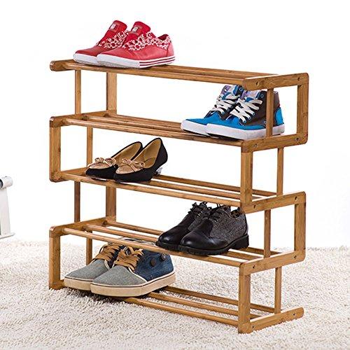 Kompakt-regale (XUEYAN 4 Tier Stehen für Stiefel Schuhe Bambus einfache Lagerregal leichte kompakte Regal Hall Enterway Tür (Size : 5 Tier))