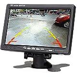 【Summdey】 Monitor de retrovisor de 7 Pulgadas para Coche con 2 entradas de vídeo y Pantalla LCD de Alta resolución giratoria TFT.