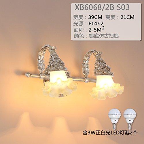 Upper-Klassische wand Lampe, Spiegel, Scheinwerfer, Badezimmer, Doppel Kopf led Wandleuchte, einfache Amerikanische retro Schlafzimmer Wand Lampe, Antik Silber