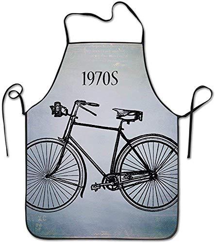 Not Applicable 1970er Jahre Bike personalisierte lustige tolles Zuhause Geschenk für Henne BBQ Cook Chef Schürze Kochen professionelle Erwachsene Lätzchen Geschenke