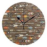 XiangHeFu Horloge Murale Ronde 25,4 cm de diamètre Motif flèches Silencieux Style décoratif pour la Maison, Le Bureau, l'école