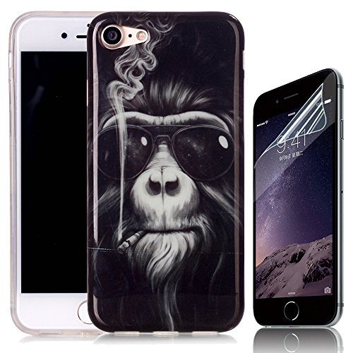 Coque iPhone 7, Sunroyal® TPU Silicone Coque pour iPhone 7 (4.7 pouces) Etui Housse Téléphone Portable de Protection Totale [Anti-rayures] [Pare-Chocs] Couvrir Coverture Premium Flex Soft Rubber Case  Pattern 01