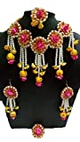 #6: Handymady Jewellery Pearl Pink Yellow Flower Jewellery Set for Women & Girls (Mehandi/Haldi/Wedding)