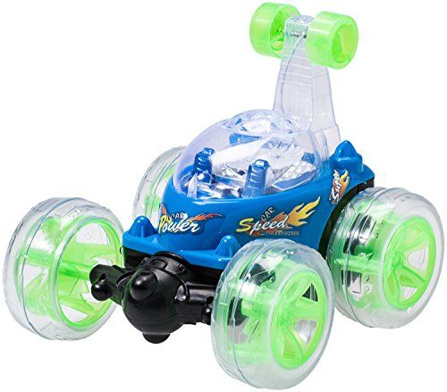 Cars Spielzeug Race (Top Race Fernbedienung Auto Cyclone Twister RC Stunt Auto mit LED-Leuchten und Musik - BLAU - 49Mhz)
