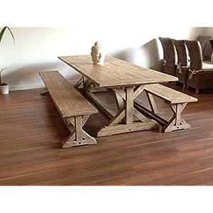51uLpkaIyIL. SS300  - Inspiring Furniture LTD 2.4m Reclaimed Pine Cross Table Two Dining Benches