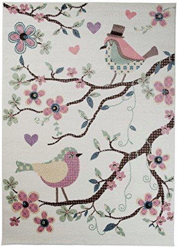 Teppich Kinderzimmer Jungen - Kinder Jugendzimmer Wohnzimmer - Vogel Design - Pastellfarben