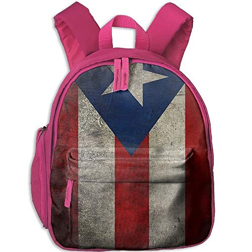 Puerto Rico Flag Vintage Double Zipper Waterproof Children Schoolbag with Front Pockets for Teens Boy Girl