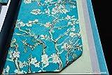Parato Van Gogh 17140 con alberi da pesco fiori bianchi e rosa, rami verde acqua fondo effetto cielo in azzurro intenso