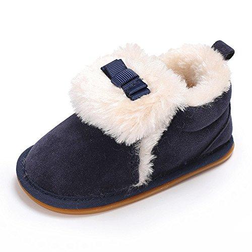 ❤️Amlaiworld Bébés Chaussons garçons Filles Chaussures Mocassins Bow Plush Semelle Souple Chaussures en Velours antidérapant Chaussures Chaud d'hiver Bottes pour Bébés 0-18Mois