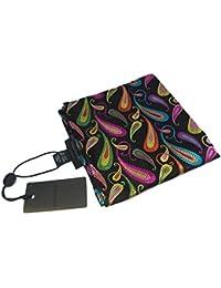 DUCHAMP London 100% Silk Pocket Square Pochette Handkerchief Multicoloured Paisley On Black