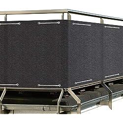 Sol Royal SolVision Brise Vue pour Balcon HB2 HDPE 500x90 cm Anthracite avec Oeillets et Cordons