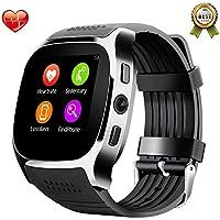 SHAOLIN Bluetooth Smart Uhr Watch mit SIM Kartenslot Schrittzähler Schlafanalyse Kalorienzähler SMS Anrufe Reminder Facebook Handy-Uhr für Android & Iphone Smartphones(Black)