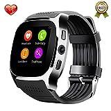 SHAOLIN Bluetooth Smart Uhr Watch mit SIM Kartenslot Schrittz?hler Schlafanalyse Kalorienz?hler SMS Anrufe Reminder Facebook Handy-Uhr f??r Android & Iphone Smartphones(Black)