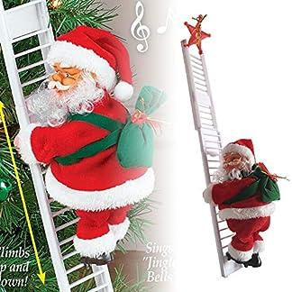 Juguete de Papá Noel Eléctrico,Muñeca Santa Claus Escalador Música Eléctrica Cuerdas de Escalada Santa Claus para Colgar en la Ventana,Regalo para bebé,cumpleaños, Navidad,Juguetes para niños