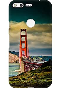 AMEZ designer printed 3d premium high quality back case cover for Google Pixel (San Francisco Bridge Mountain Landscape)