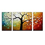 "Wieco Art 3-Piece ""Lucky Tree"" Stretched and Framed Hand Painted Modern Canvas Wall Art Set"