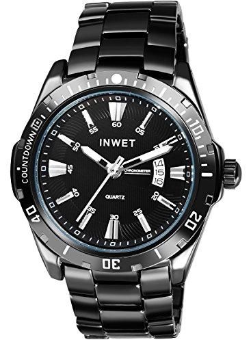INWET Herren Armbanduhr,Klassisch Zifferblatt Analoge Anzeigen mit Datum,Schwarz Metall Armband