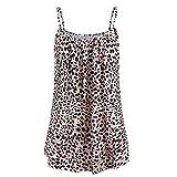 Lazzboy Donna Camis Top Vest Canotta Senza Maniche Plus Size Camicie da Spiaggia Daily Oversize(3XL(50),Giallo-Leopardo)