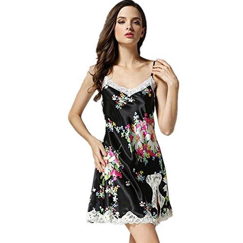 DMMSS Damen Neues Silk Pyjamas Silk Sleeveless Schläfer Kleid Breite Silk Kleid l