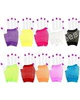 Short Fishnet Fingerless Gloves - Purple