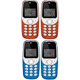 IKALL K71 Mobile Phone Combo (2 Red + 2 Light Blue) With Vibration Feature, 800 MAh Battery