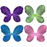 STOBOK 4pcs Día del niño Niños Baile Interpretaciones Ropa Alas Niñas Trajes de Alto Rendimiento Mariposa Falda de Escenario Accesorios (Rosa, Verde, Púrpura, Azul)